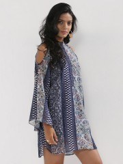 NOBLE FAITH  Bell Sleeves Cold Shoulder Shirt Dress