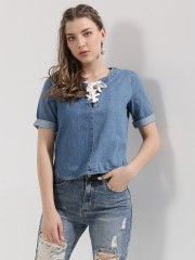 ONLY  Lace Up Denim Top