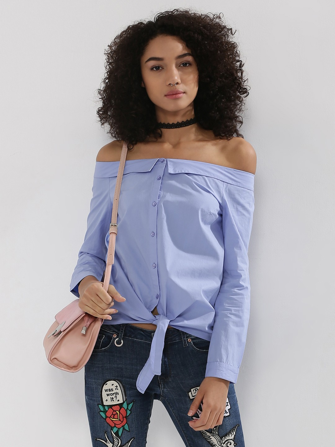 Buy ONLY Tie Knot Off Shoulder Shirt For Women - Women's Blue ...