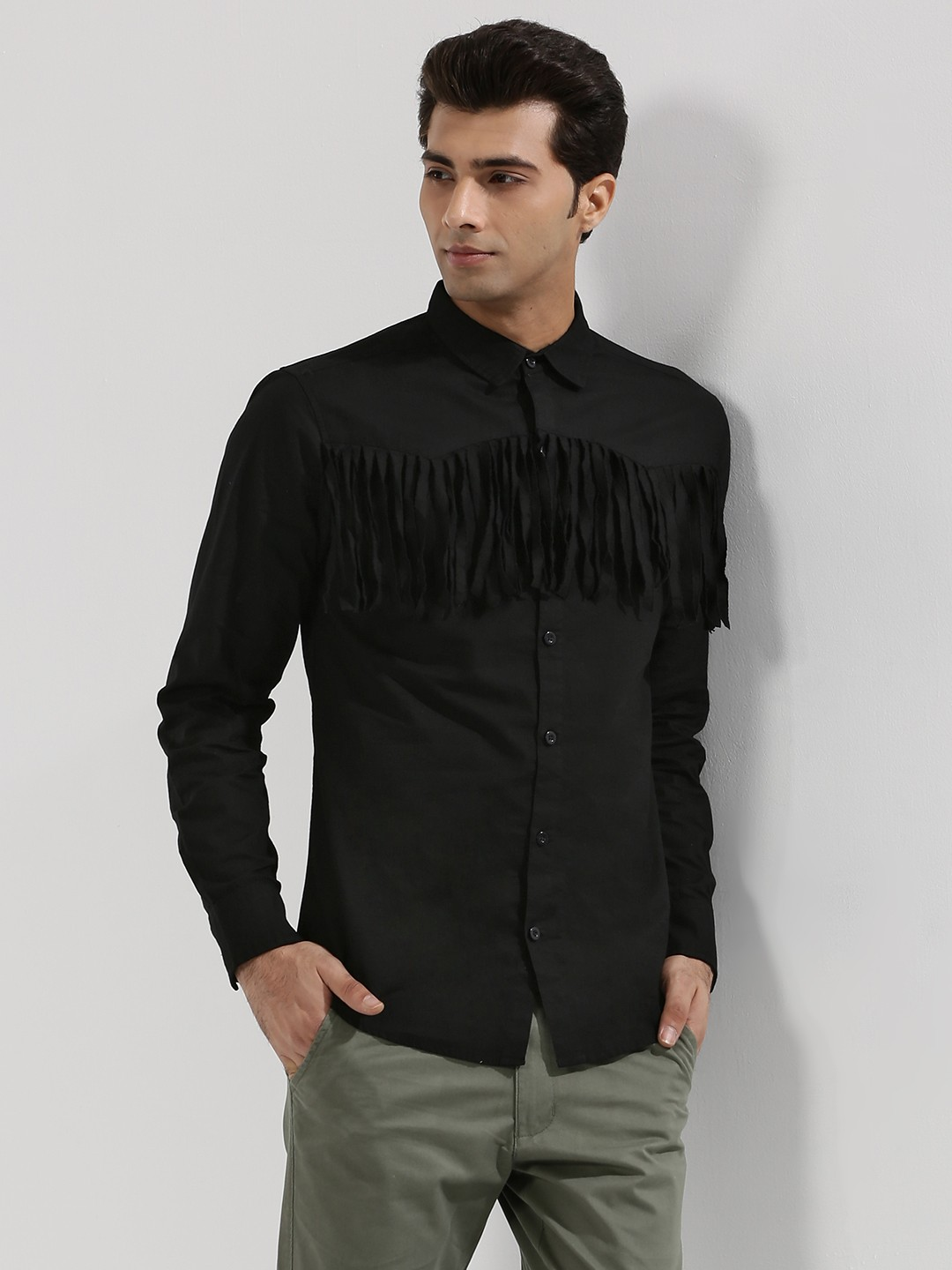 Buy Noble Faith Western Fringe Shirt For Men Men 39 S Black