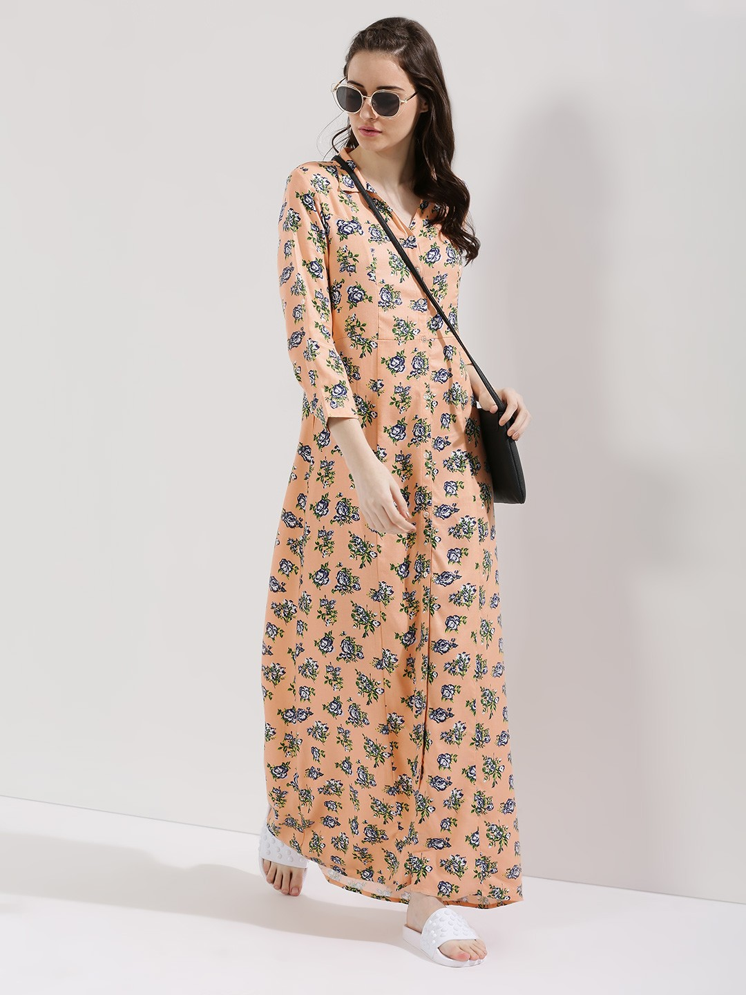 Buy ZIVAME Printed Maxi Dress For Women - Women's Peach Maxi ...