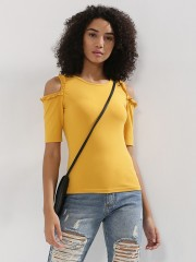 BEYOND CLOUDS  Cold Shoulder Top With Frill Detail