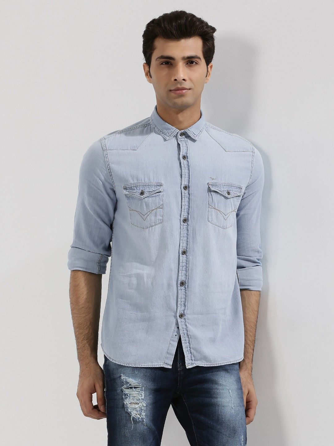 Buy FLYING MACHINE Ice Wash Denim Shirt With Twin Pockets For Men - Menu0026#39;s Blue Casual Shirts ...