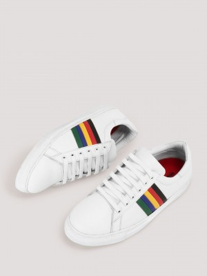 MARCELLO & FERRI  Sneakers With Multi-colour Striped Detailing On Side Panel
