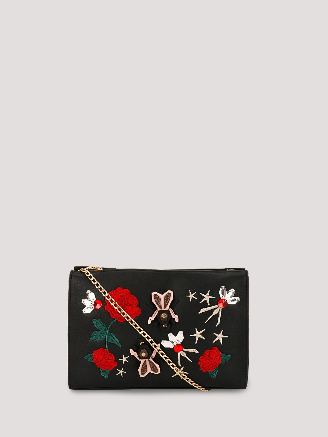 Buy ORIGAMI LILY Embroidered Sling Bag For Women - Women's Black ...