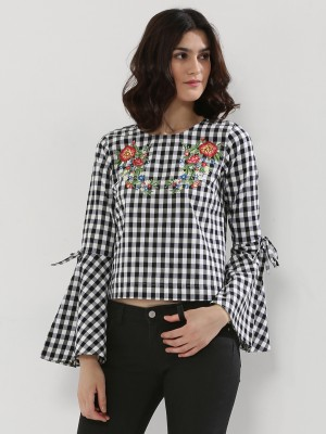 NOBLE FAITH  Flared Sleeves Gingham Top With Embroidery