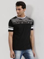 X.O.Y.O  Camo Panel T-Shirt With Striped Sleeves