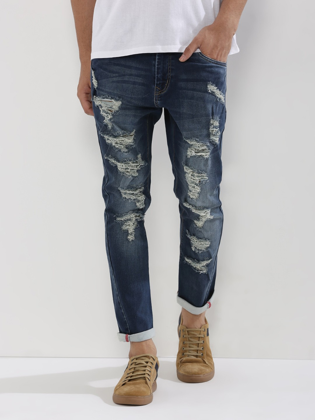 Buy BOLT OF THE GOOD STUFF Washed Carrot Jeans With Extreme Rip ...