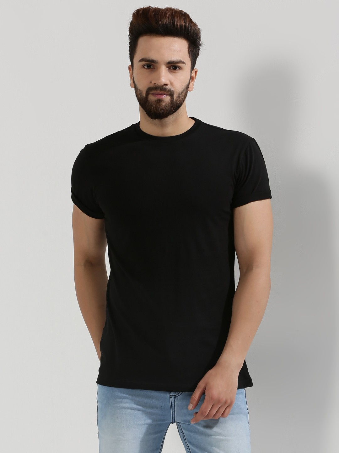 Black t shirt man - Koovs Crew Neck T Shirt