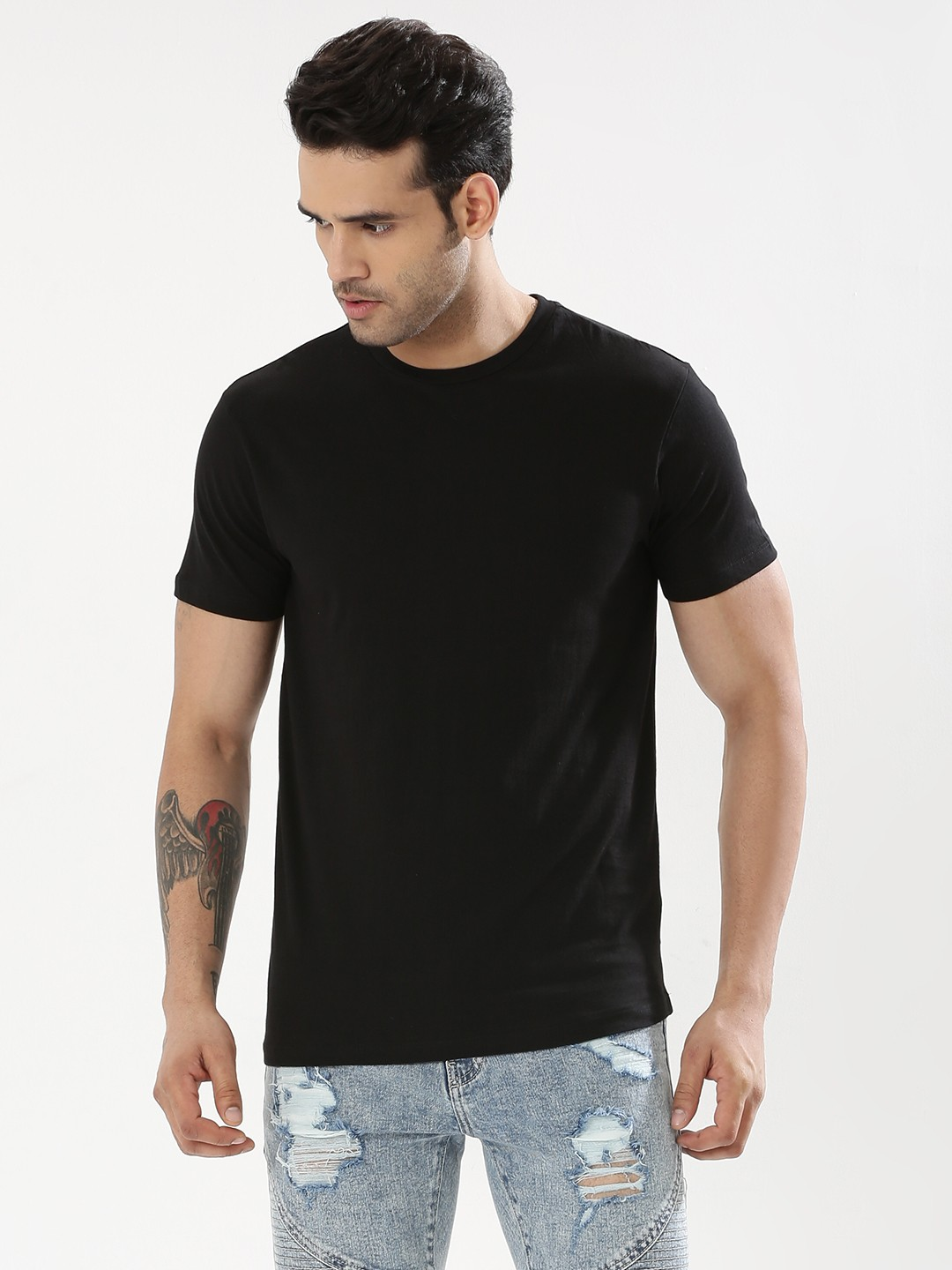 Buy KOOVS Crew Neck T-Shirt For Men - Men's Black T-shirts Online ...