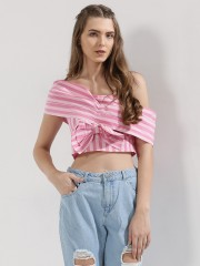 BLUE SEQUIN  Top With Pleated Drop Shoulder