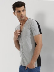 KULTPRIT  Jersey Collarless Shirt With Contrast Back Panel