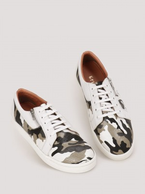GRIFFIN  Sneakers With Camo Textures Upper And Zip Detailing