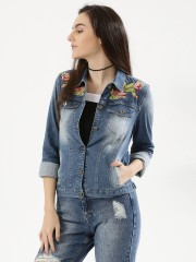 NOBLE FAITH  Denim Jacket With Floral Embroidery