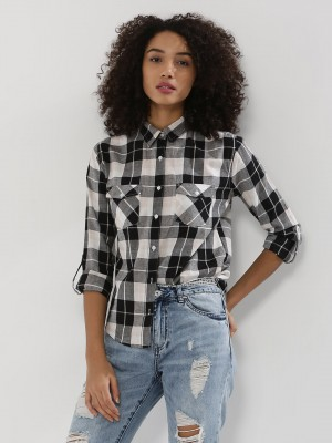 PINK WOMAN  Shirt With Grid Pattern