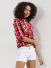 PINK WOMAN  Check Shirt With Front Pocket