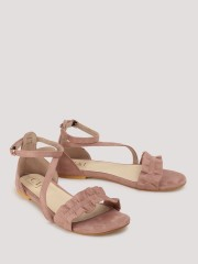 CAI  Ruffled Front Strap Flat Sandals