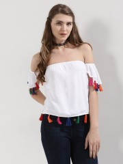 SBUYS  Bardot  Top With Multi Color Tassles