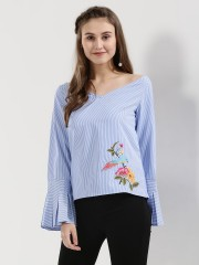 RIDRESS  Bird Embroidered Flared Sleeves Blouse