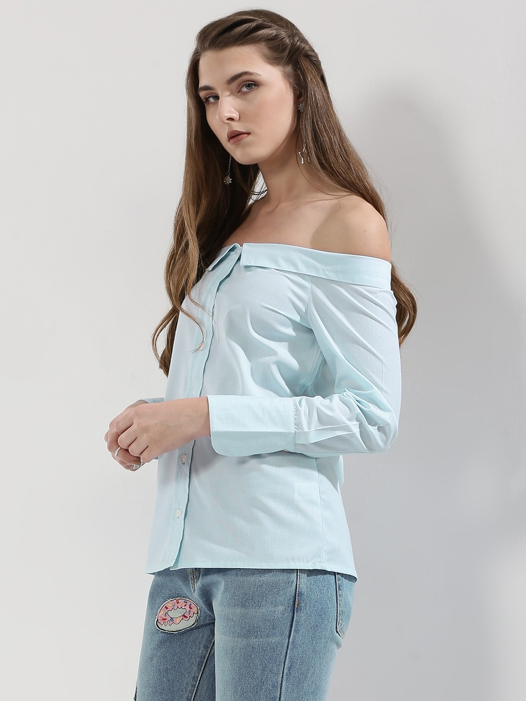 Buy POSTFOLD Off Shoulder Collared Shirt For Women - Women's Ice ...