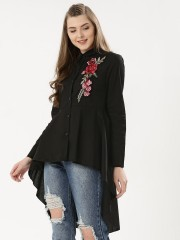 FOREVER AND EVER  Embroidery Dip Hem Shirt