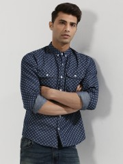 KOOVS  Printed Chambray Shirt With Contrast Buttons