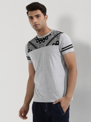 GARCON  Paisley Panel T-Shirt With Striped Sleeves
