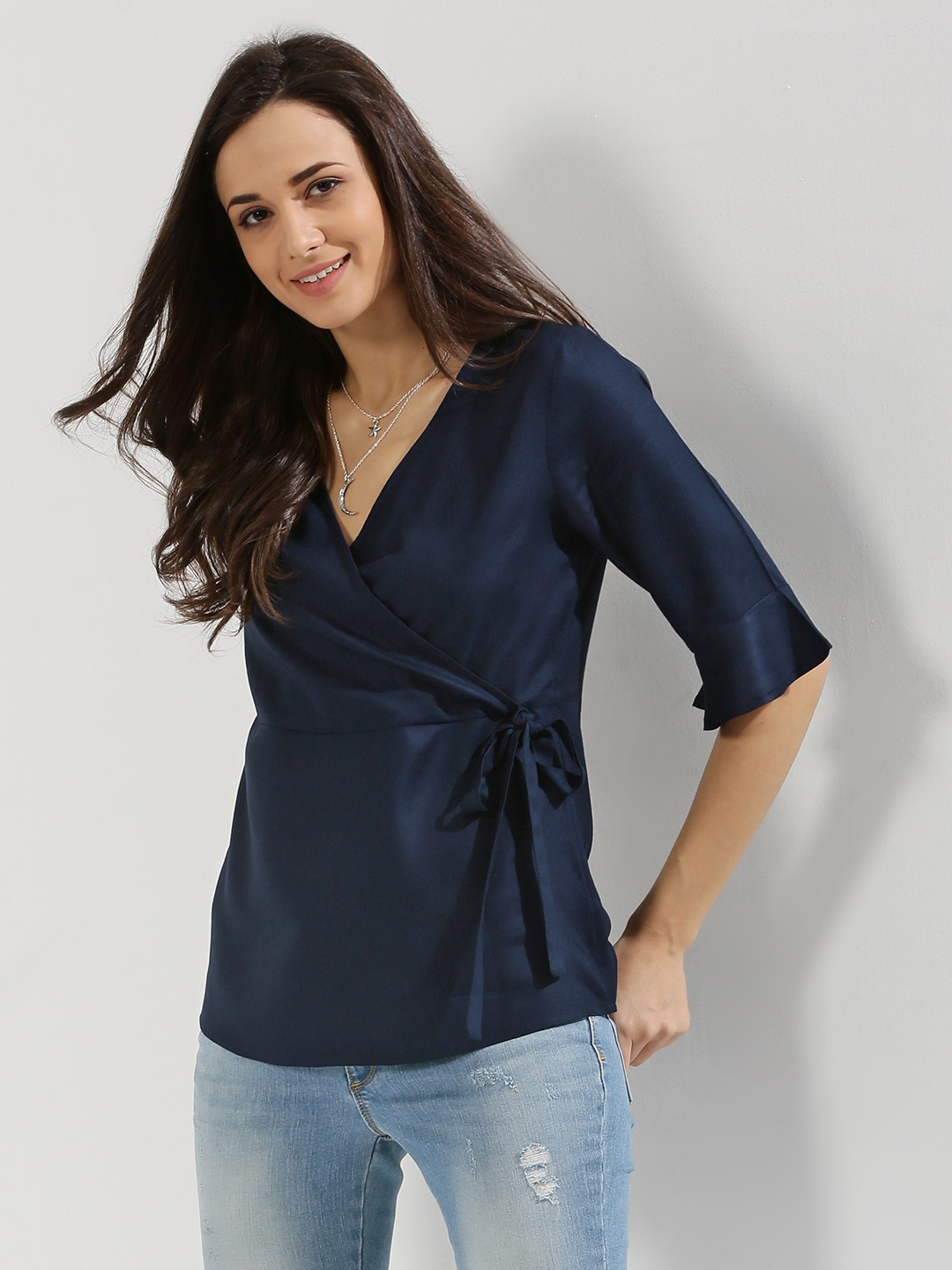 Buy FEMELLA Wrap Top For Women - Women's Navy Blouses Online in India